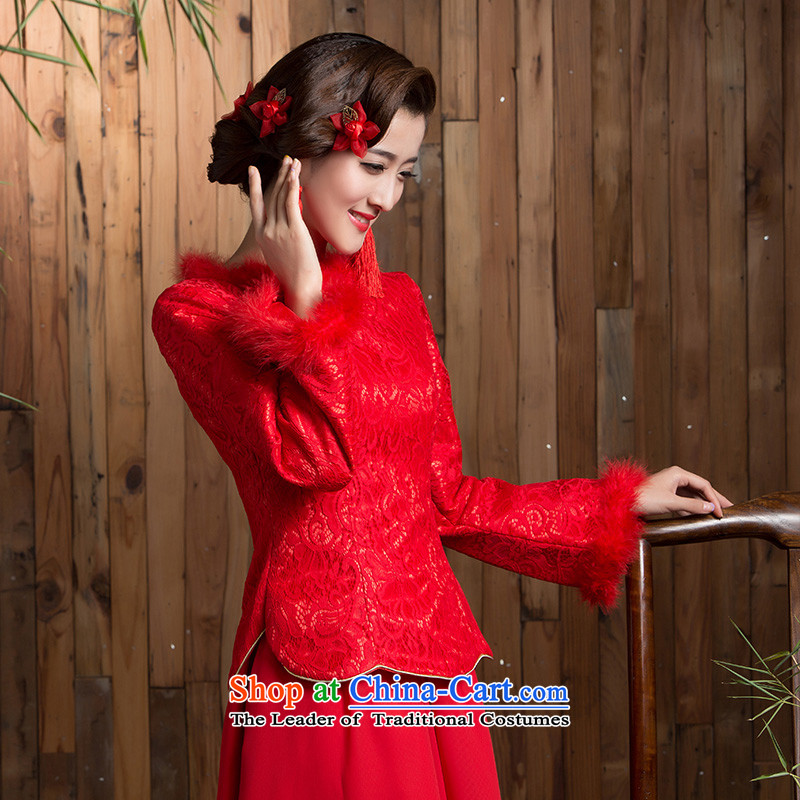 Non-you do not marry�15 Winter New Service bridal dresses marriage bows red long skirt long-sleeved gross claim back door onto Red�L