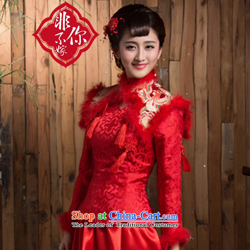 Non-you do not marry�15 new bride cheongsam long-sleeved retro winter red bows to thick Chinese long wedding dress Red�L