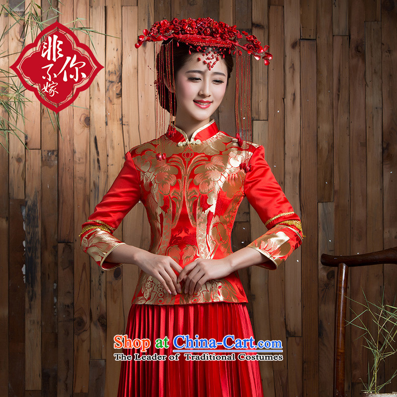 Non-you do not marry�15 new larger bride bows to thick winter clothing long-sleeved qipao retro lace long wedding dress red爏