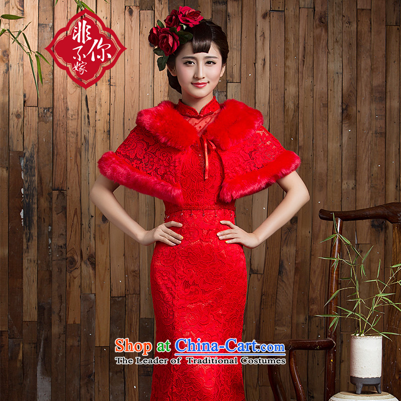 Non-you do not marry�15 autumn and winter shawl red plus cotton long skirt qipao retro improved bride services Sau San small dresses bows back door onto red marriage燣