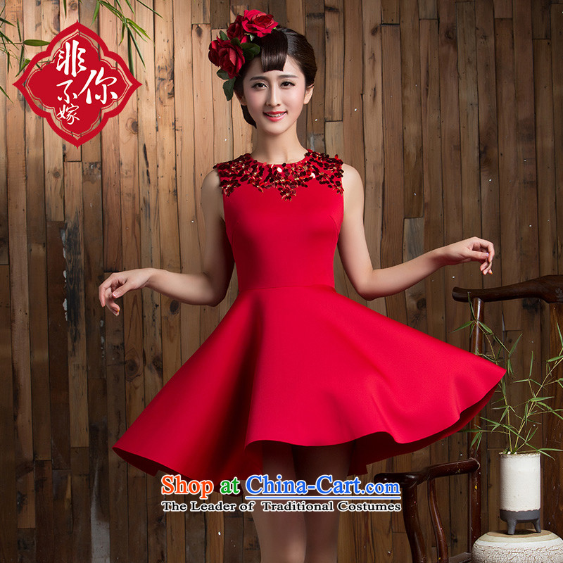 2015 new bows of autumn and winter clothing wedding bride short stylish Sau San Red Dress marriage small red dress�L