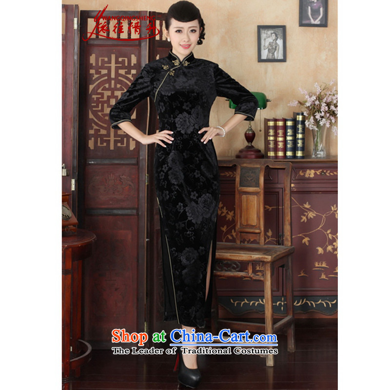 In accordance with the Love l Chinese cheongsam dress improved long skirt superior Stretch Wool collar ramp gold badges of seven cuff qipao�-A Black燲L