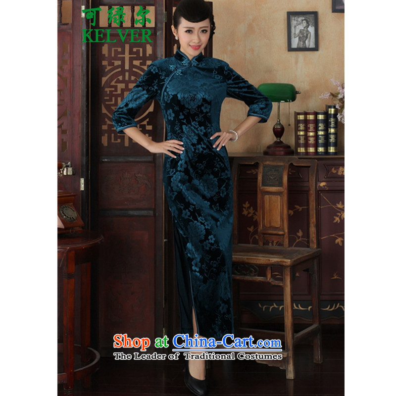 To Green, Chinese improved cheongsam dress long skirt superior Stretch Wool 7 Cuff Kim qipao Doha Tsing� 2XL