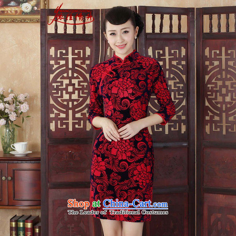 In accordance with the Love In Tang Dynasty Women cheongsam dress autumn new ethnic Chinese improved Kim collar is pressed scouring pads Sau San 7 cuff qipao safflower燤