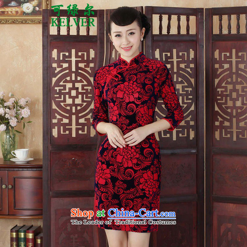 To Green, Tang dynasty women cheongsam dress autumn new ethnic Chinese improved Kim collar is pressed scouring pads Sau San 7 cuff qipao safflower�L