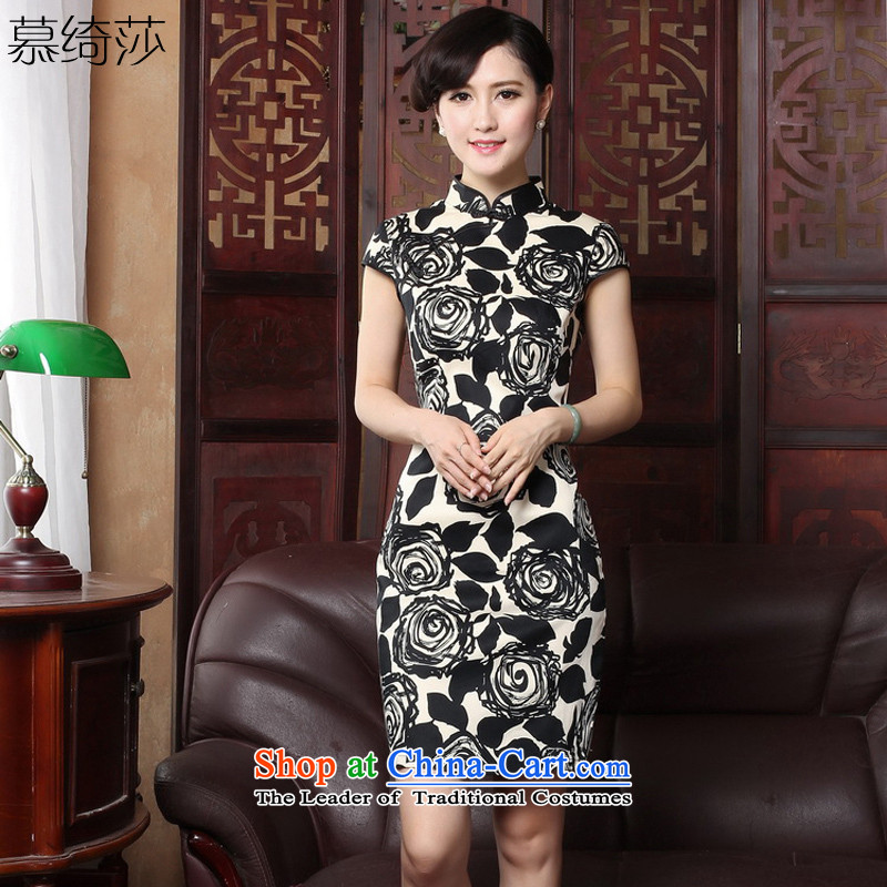 The cross-sa�15 improved, summer stylish contemporary Chinese hospitality services retro stamp qipao gown燳3060B 3XL skirt