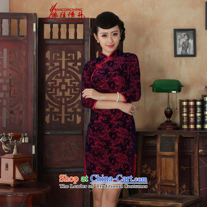 In accordance with the Love l summer new female Tang Gown cheongsam dress is pressed to collar ethnic Kim scouring pads Sau San 7 cuff qipao燣GD_TD0016_燽etter Red� 2XL
