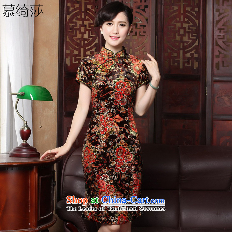 The cross-sa cheongsam dress with stylish retro improvement of autumn female improved cheongsam dress with older qipao mother燳3118B 3XL
