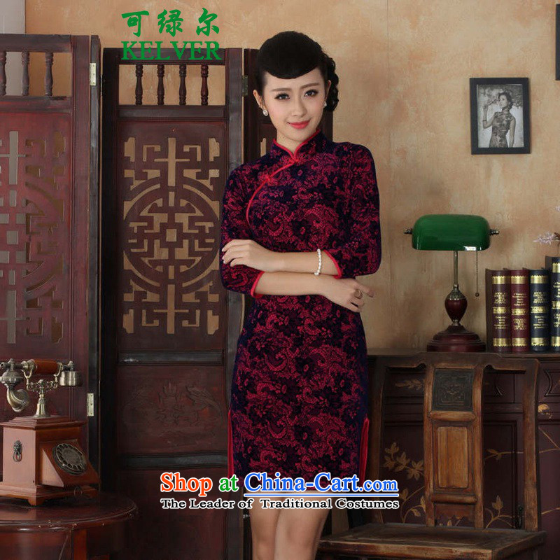 You can install the latest Autumn, green for women Tang Gown cheongsam dress is pressed to collar ethnic Kim scouring pads Sau San 7 cuff qipao better Red� 2XL