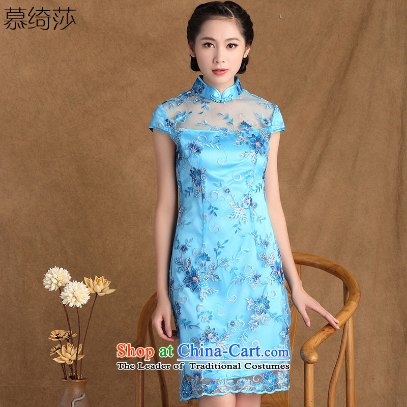 The cross-sa to Mr NGAN?2015 Summer new women's fine lace Stylish retro elegant qipao qipao improved skirt?Y3133B M