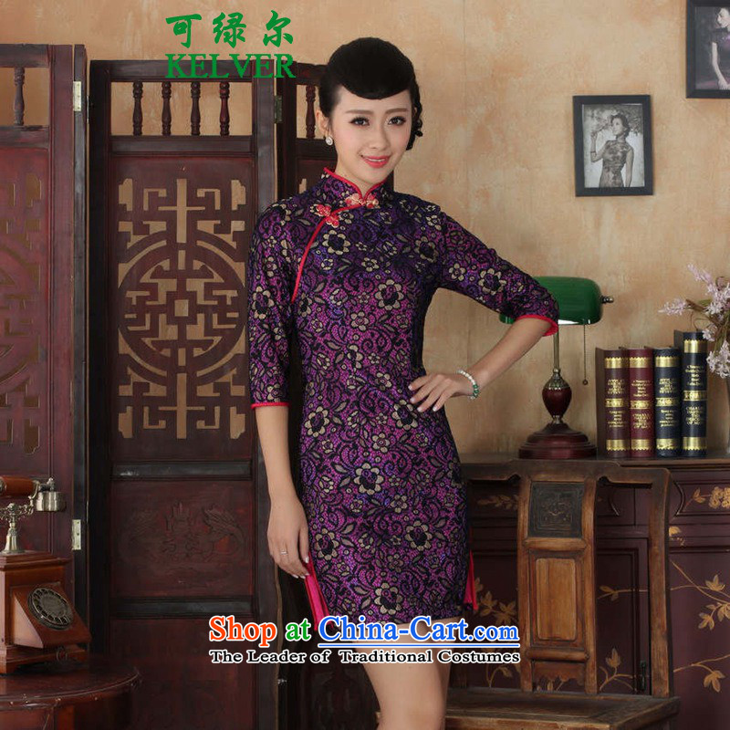 Green, a middle-aged man can fall and winter new products female Tang Gown cheongsam dress improved retro lace cheongsam dress in Sau San Cuff Color Picture qipao?L
