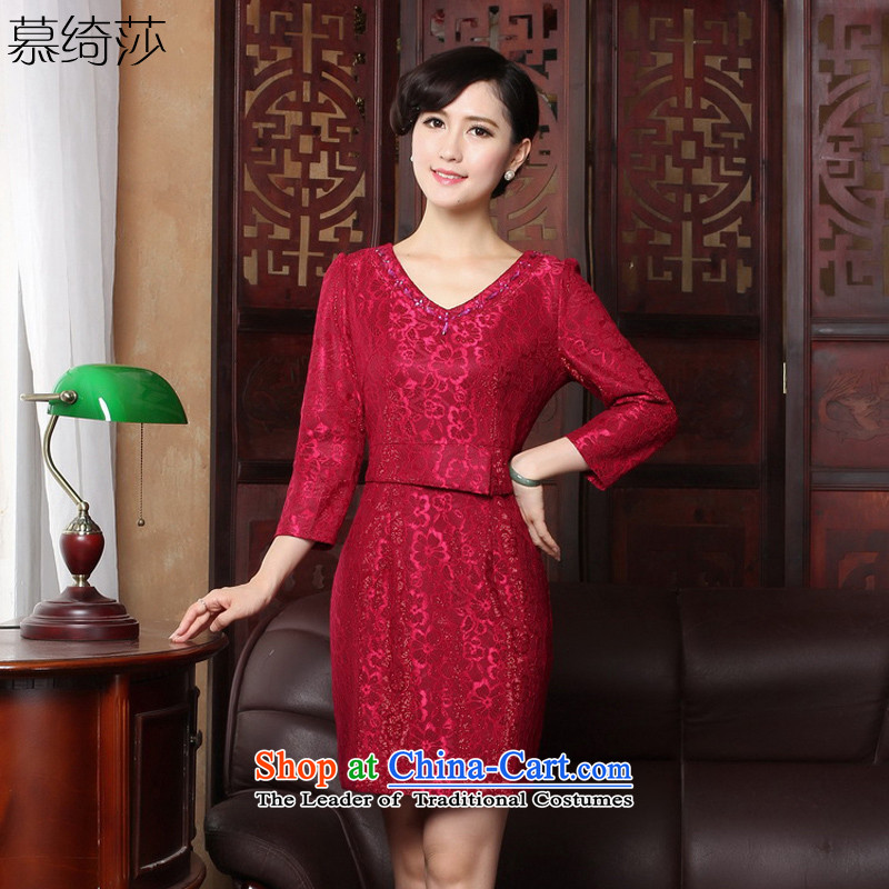 The cheer her spring outfits lace qipao V-Neck 7 Cuff Red Dress cheongsam dress dresses evening drink service燳3171B L