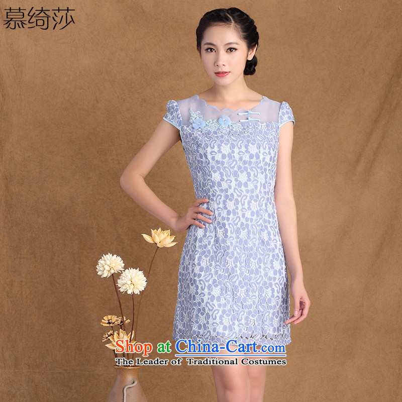 The cross-sa�15 Summer new women's exquisite stamp lace Sau San stylish cheongsam dress燳3177B L