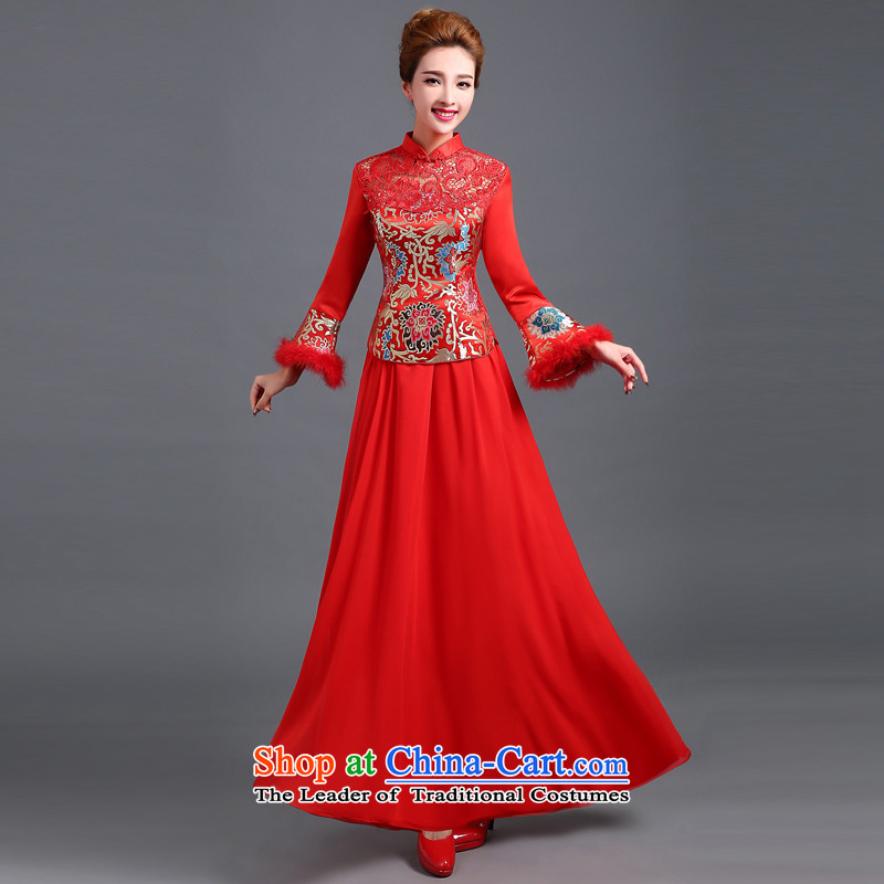 The Republika Srpska divas qipao bows services 2015 autumn and winter new stylish red bride long qipao bows services serving the marriage of Chinese bride bows bows services red聽s Cheongsam