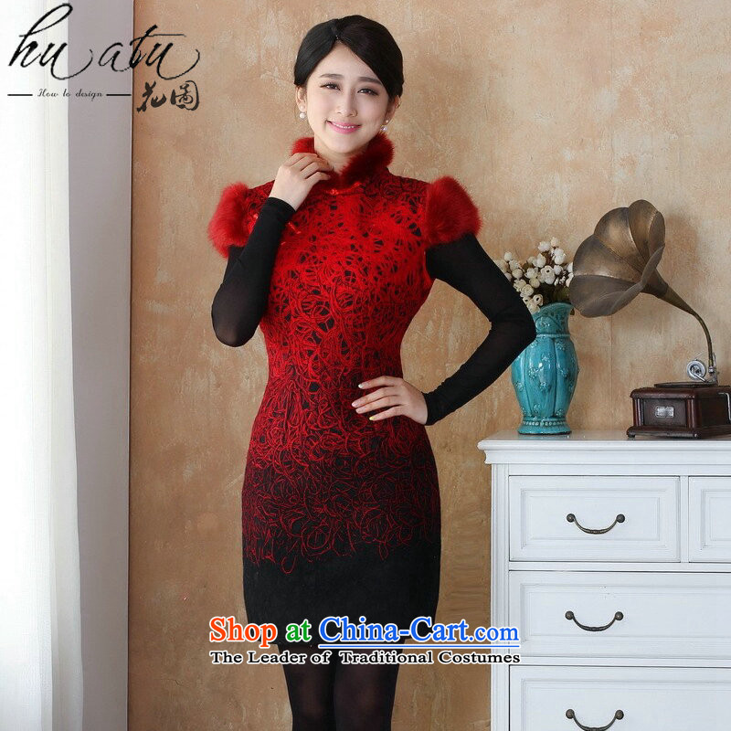 Spend the winter new qipao figure female Tang dynasty qipao lace composite rough edges Mock-neck stamp cheongsam dress suit�-10 3XL
