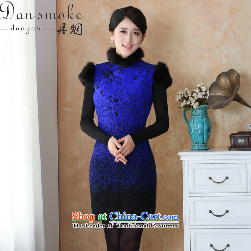 Dan smoke autumn and winter cheongsam dress Tang dynasty qipao lace composite rough edges Mock-neck stamp cheongsam dress suit�- 8 3XL Performance