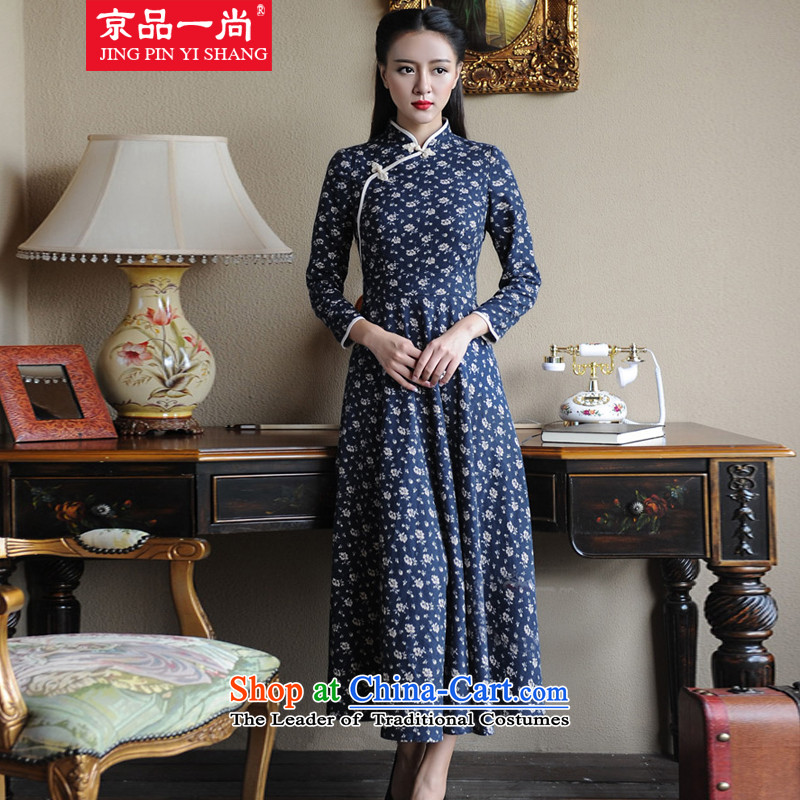 Beijing goods is a new spring and autumn 2015 was long-sleeved retro qipao China wind up the clip Sau San long skirt dark blue�S