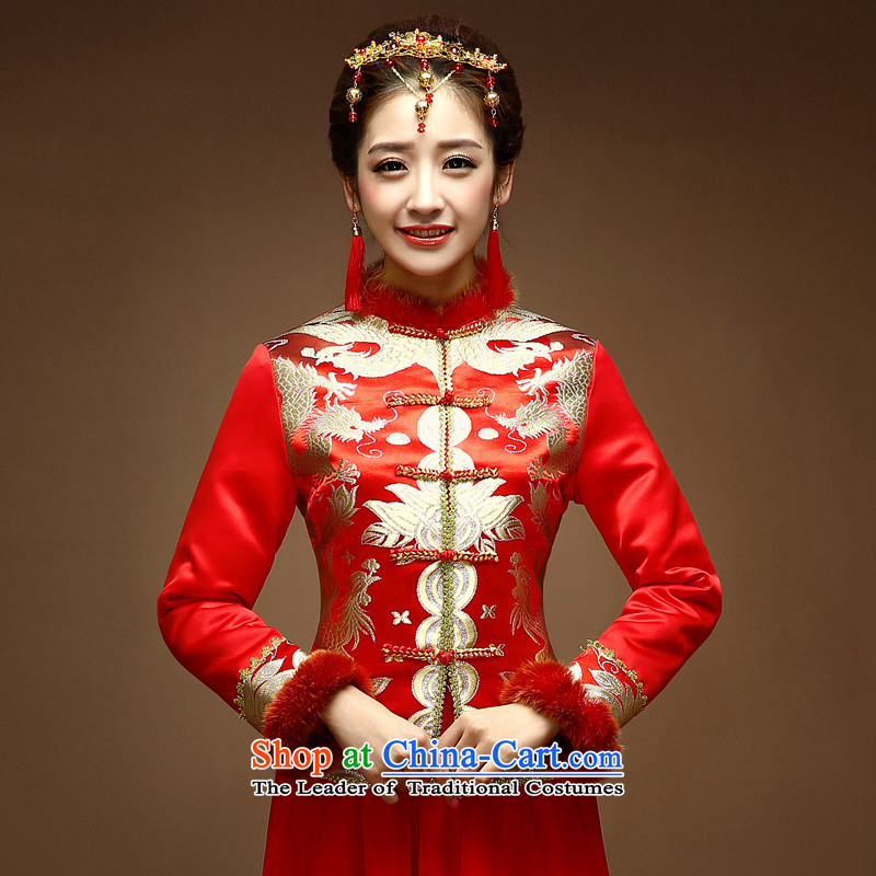The privilege of serving-leung new 2014 Red Winter bride wedding dress Chinese winter clothing cotton long-sleeved clothing red燬 toasting champagne Cheongsam