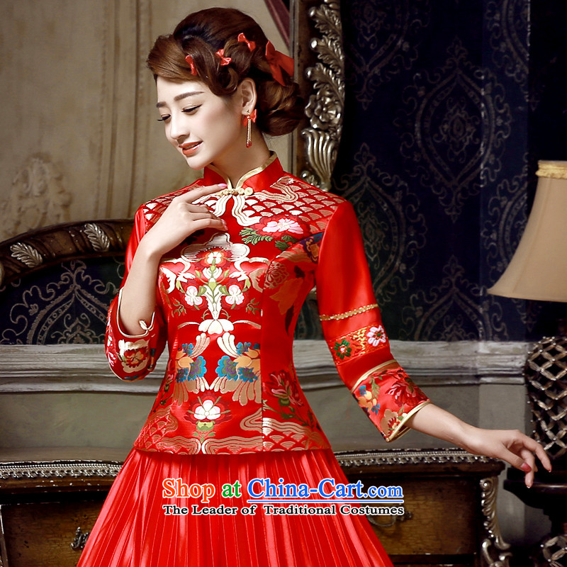 The privilege of serving-leung of autumn and winter 2015 new bride of Chinese boxed wedding dress red bows services wedding dress cheongsam red燣