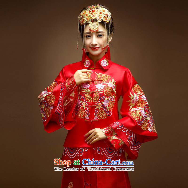 The privilege of serving-leung Chinese wedding gown bride wedding dress 2015 Fall/Winter Collections of new long-sleeved and bows to show Groups qipao Red 2XL to serve 15 day shipping