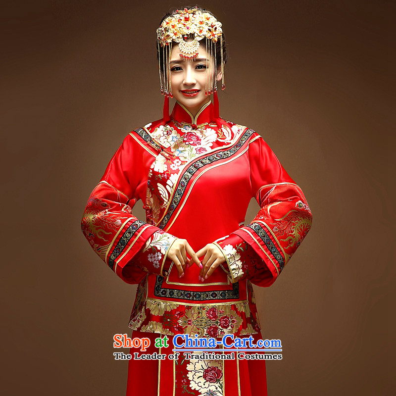The privilege of serving Chinese-soo-Leung Wo-Wedding dress bride wedding dress red bows services qipao Soo kimono dragon use cluster RED燤