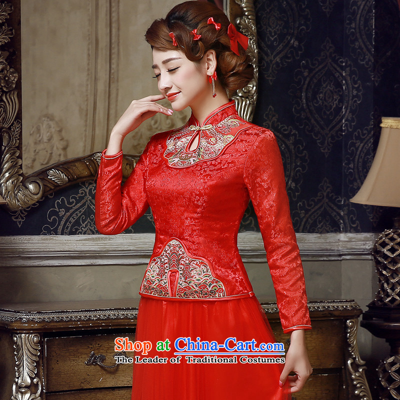 The privilege of serving-leung 2015 Fall/Winter Collections New Red Chinese wedding dress long-sleeved qipao bride bows Services Red?2XL