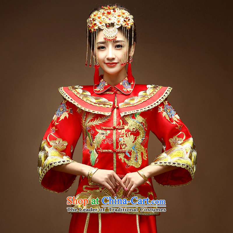 The privilege of serving-leung 2015 New Chinese wedding dress bride wedding dress bows and Miss Cyd Wo Service Longfeng cheongsam dress use Red�L