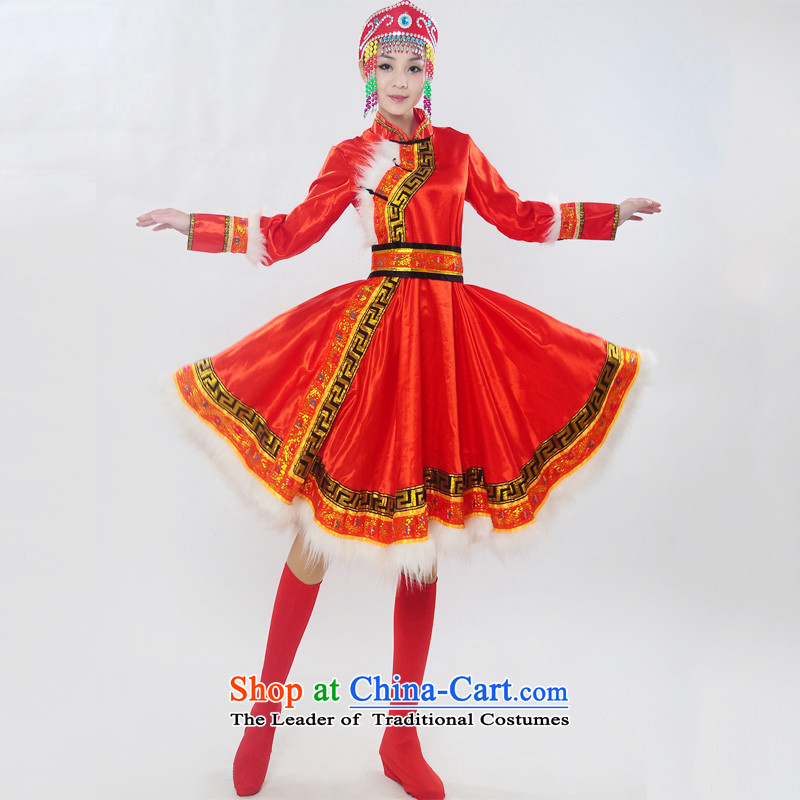 Double-122014 genuine new Mongolia will unveil Mongolian folk dances of women of ethnic minorities costumes dance HXYM-0028 services red S