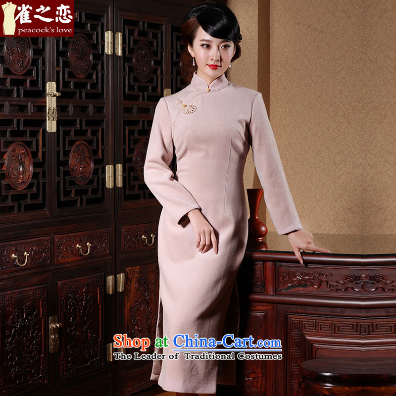 Love of birds Feng Hua had�15 Spring New Sau San long long-sleeved qipao? gross skirt pink燲L