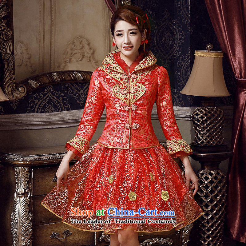 The privilege of serving-leung 2015 new red autumn and winter load bride Wedding Dress Short of long-sleeved clothing bows red winter_ Lanterns cheongsam dress燲L