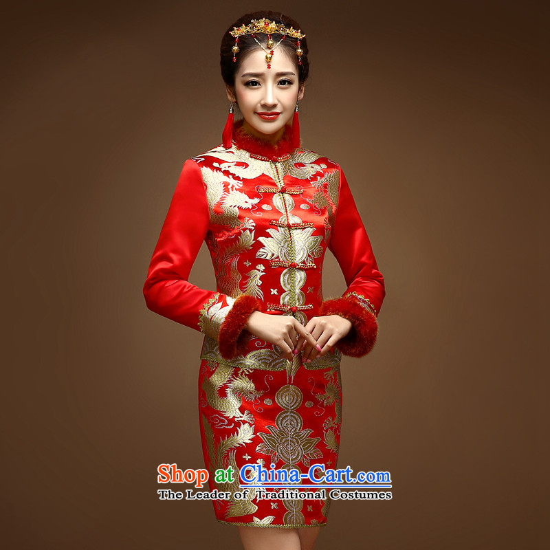 The privilege of serving-Leung of the 2014 Winter winter clothing new bride wedding dress Chinese wedding dress long-sleeved clothing cotton red qipao bows�L
