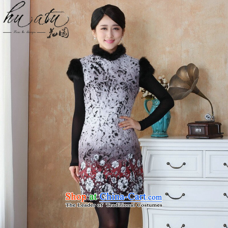 Floral winter clothing new cheongsam dress gross Tang dynasty? Ms. qipao rough edges Mock-neck stamp cheongsam dress suit?- 1 red?3XL
