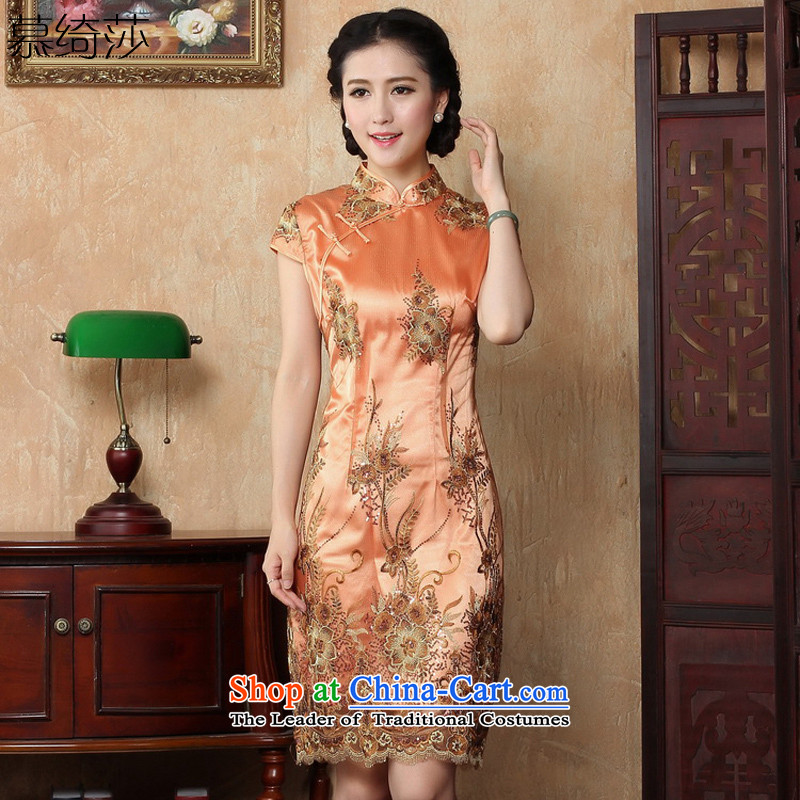 The cheer her?new spring and summer 2015, dresses improved temperament dress retro-day short-sleeved qipao gown?Y3080B cotton XL