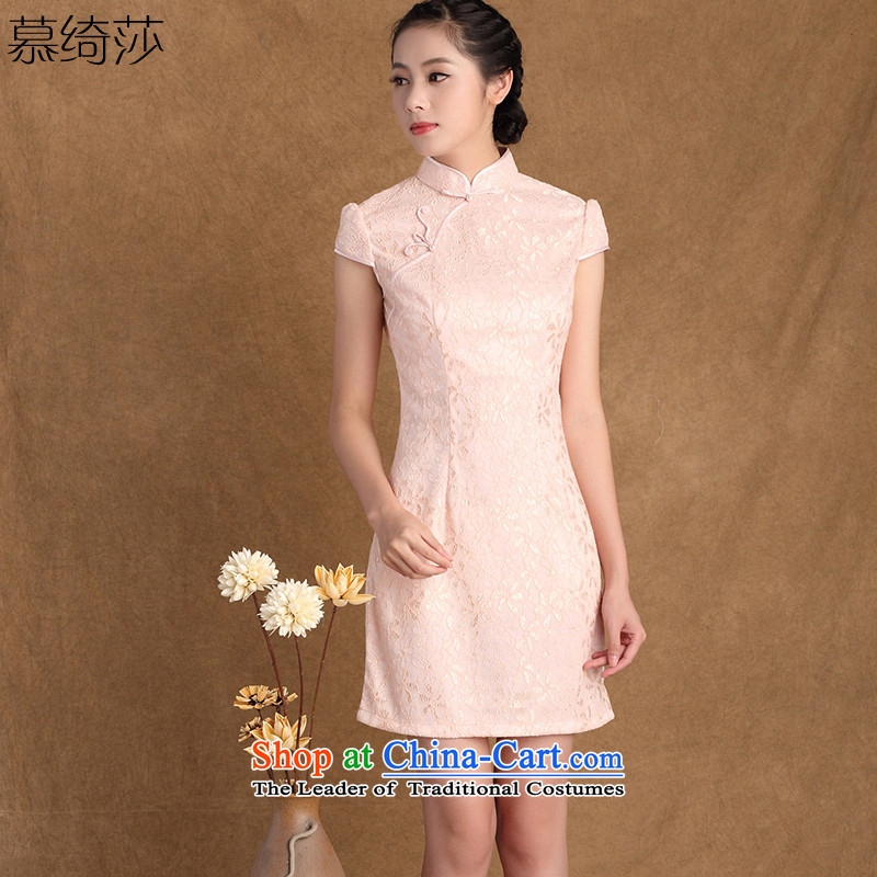 The cross-sa new summer collar short-sleeved lace qipao Chinese Antique style qipao skirt燳3137B improved L