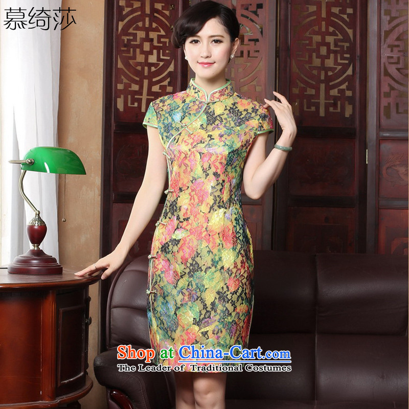 The cross-sa�15, Ms. Short retro cheongsam dress the new summer stylish improved Tang dynasty dresses燳3172B M