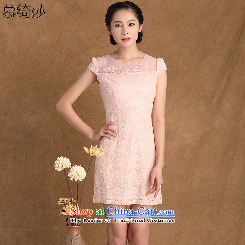 The cross-sa overview new chord in spring and summer stylish lace daily improved cheongsam dress Sau San-to-day China wind燳3181B female M
