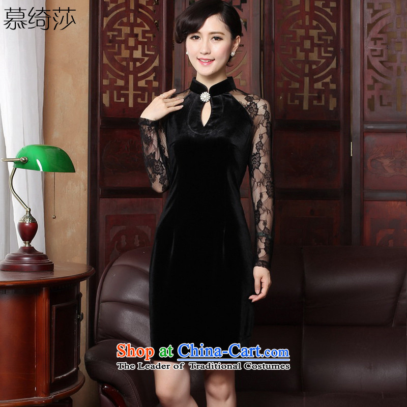 The cross-sa�15 Spring and Autumn long-sleeved new aristocratic cheongsam dress retro lace stitching improved cheongsam dress燳3319D XL