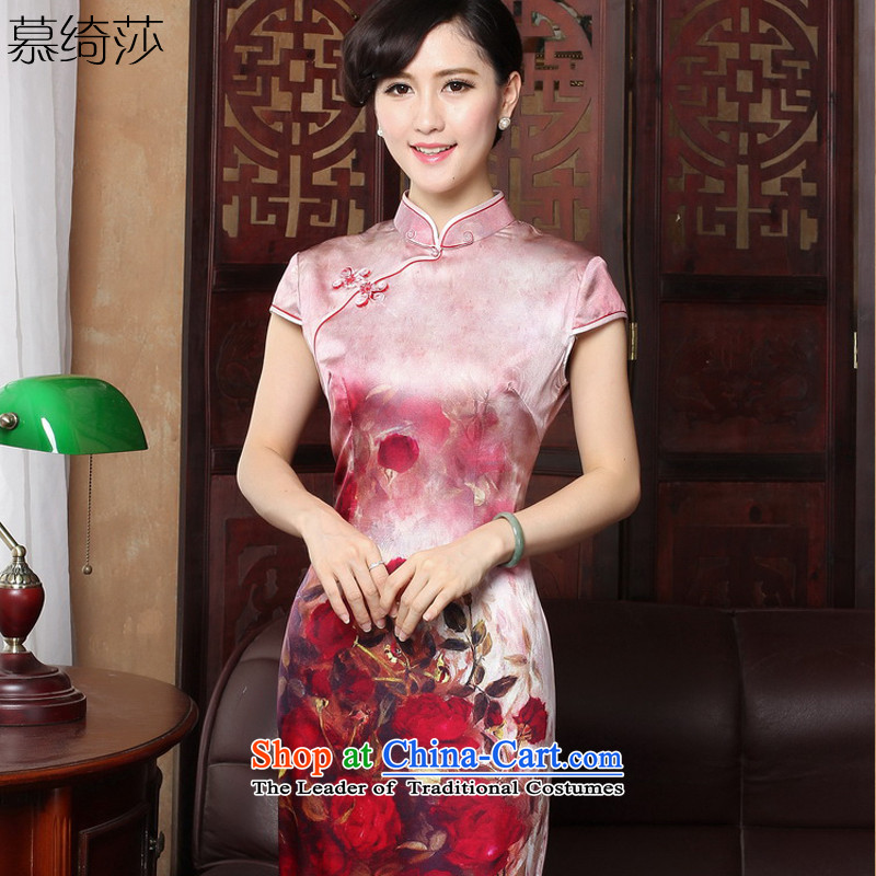 The cross-sa�15 Spring Summer temperament silk cheongsam dress retro style qipao_ Improved short skirt temperament燳3186 M