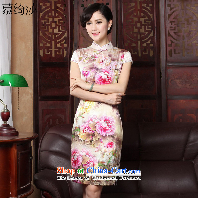 The cross-sa�15 Summer Zhengyan,New Silk Cheongsam improved stamp stylish Sau San daily cheongsam dress燳3185B 2XL
