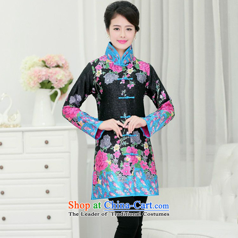Forest Narcissus 2015 spring, summer, autumn and install new collar large flower in Tang Long qipao XYY-1268 jacket coat black toner flower?XXL
