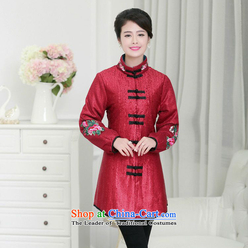 Forest narcissus new autumn and winter 2015 plus cotton waffle warm collar Sau San Tong replacing qipao XYY-1269 jacket coat BOURDEAUX XXL
