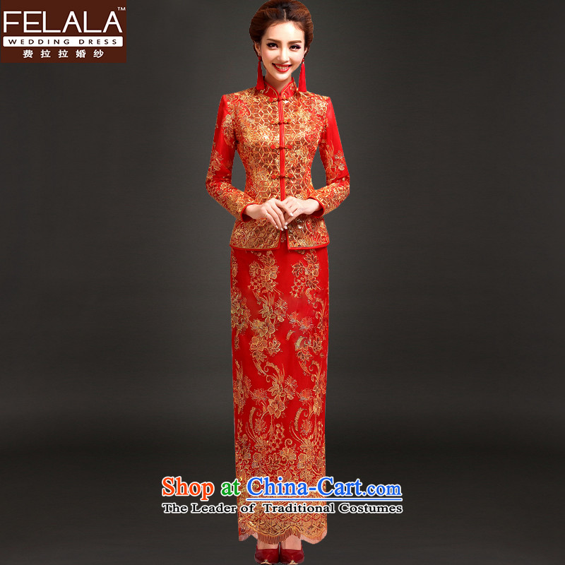 Ferrara?2015 new bride long-sleeved qipao winter Chinese dragon and the use of thin, dresses Algeria) Gold wire clips)?S