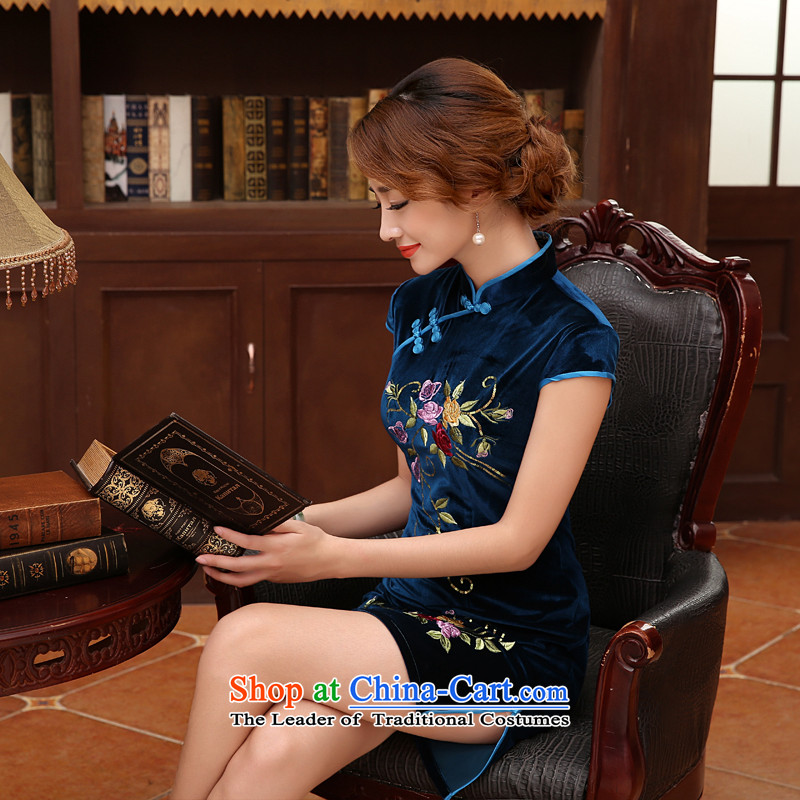 The 2014 autumn morning land new Stylish retro fine rust flowers improved velvet cheongsam dress optional four-color blue?L