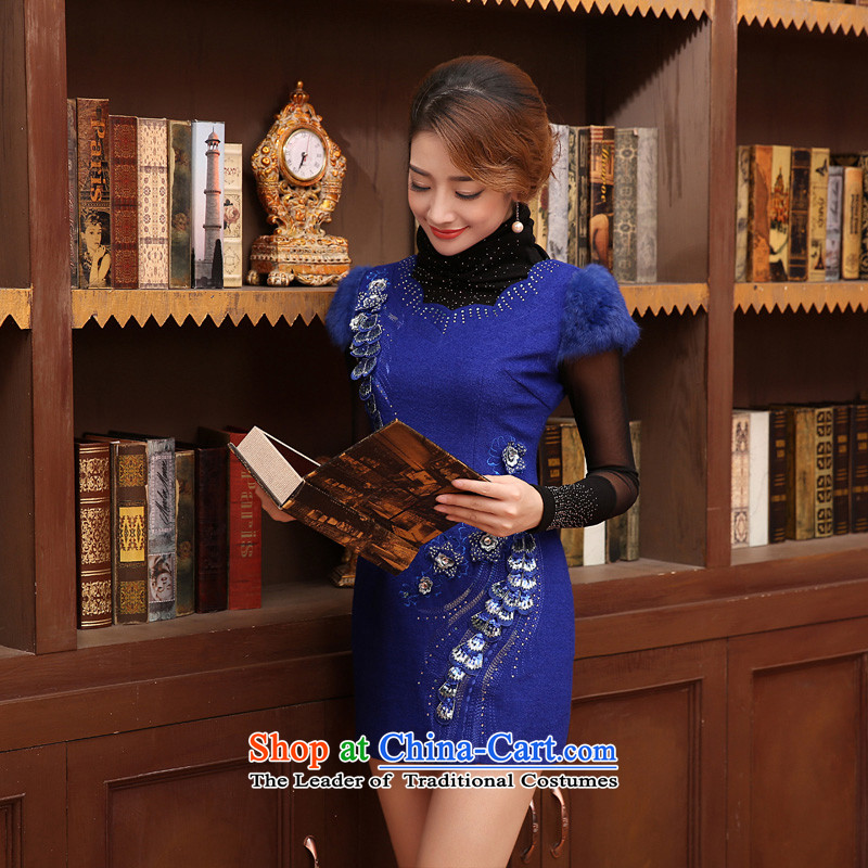 The land of the 2014 autumn and winter morning with new stylish retro luxury daily improved gross collar short of Qipao wool skirt Blue燤