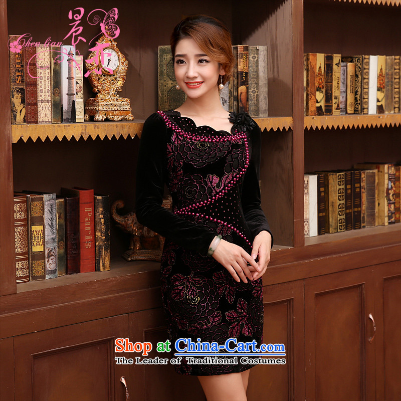 The 2014 autumn morning land new Stylish retro short, long-sleeved improved velvet forming the two red�5_S shirt