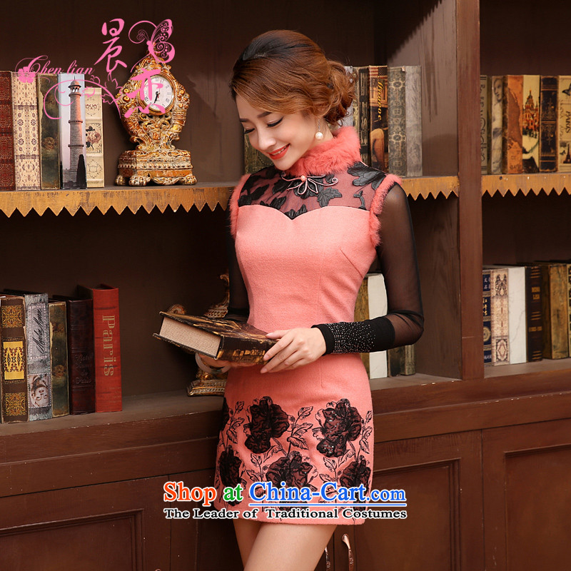 The 2014 autumn and winter morning land new stylish retro improvement of daily luxury rabbit hair collar short of qipao wool skirt pink?L