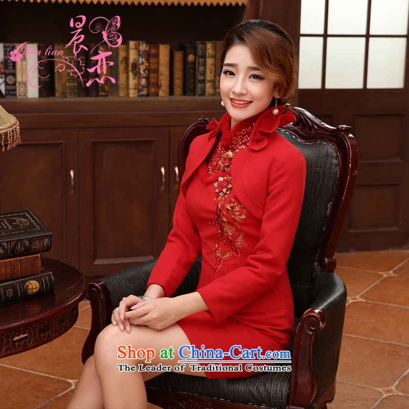 Morning Land 2014 load autumn and winter married bride improved qipao wool bows Chinese long-sleeved gown skirt two kits RED?M