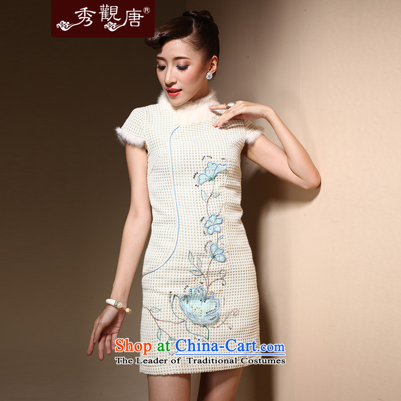 Sau Kwun Tong Winter Love qipao new 2015 winter clothes for day-to-retro embroidery gross cotton qipao QM3913 folder m White聽XL