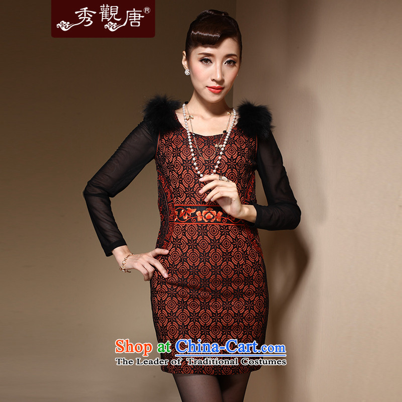 Sau Kwun Tong Fire winter cotton robes for winter?2014 Ms. Chinese improved stylish clip cotton dress QM3916 ORANGE?XL