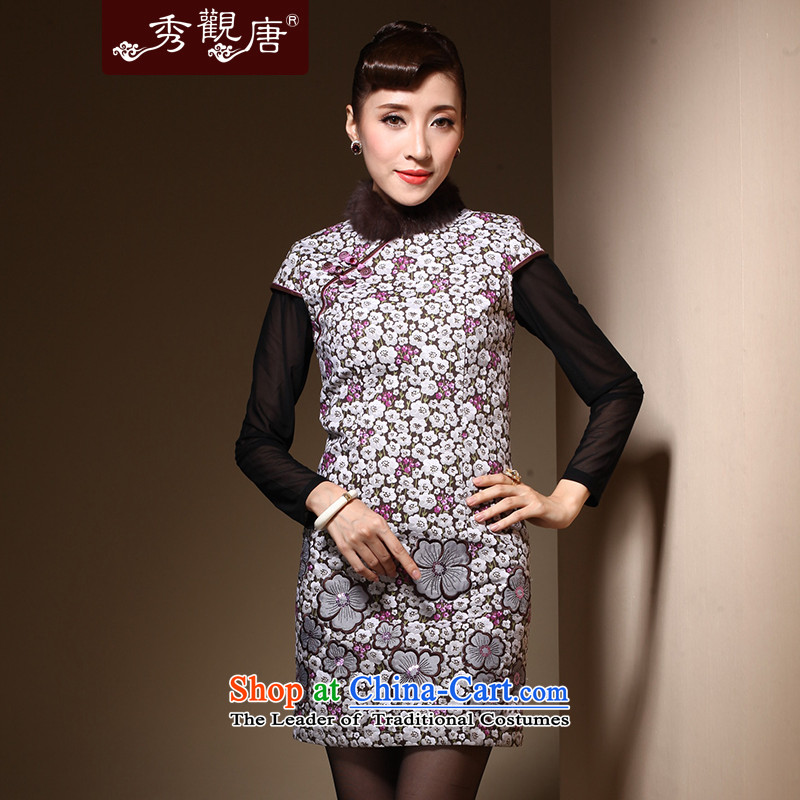 Sau Kwun Tong 脌卯露卢脙路 qipao new 2014 winter clothes for day-to-Folder gross cheongsam dress suit QM31005 cotton聽S